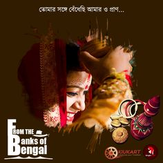 """The conch shell is blowing. Ululation's heard. The rich, warm & elaborate Bengali wedding ceremony has begun.  The traditional Bengali wedding ceremony only gets completed with """"Sindoor Daan"""".  #BanglarTant #Sari"""
