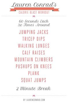 Shape Up - My Get Fit Quick - Lauren Conrad - fitness - exercise - workout - celebrity - celeb - believe. Fitness Workouts, Sport Fitness, Fitness Diet, At Home Workouts, Health Fitness, Fitness Plan, Circuit Workouts, Workout Exercises, Circuit Training