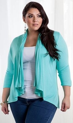 Curvalicious Clothes :: Plus Size Tops :: Open Cardigan -Soft Aqua