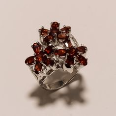 925 SOLID STERLING SILVER CHRISTMISS GIFT MOZAMBIQUE GARNET RING SZ 8.5 , 10 GRM #Ring