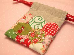 Hexagon patchwork drawstring bag