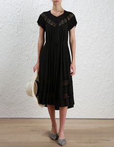 Winsome Sunray Lace Dress, from our Resort RTW 17 collection, in Black. Pleated dress with lace inserts throughout neckline and hem and a separate self tie belt.