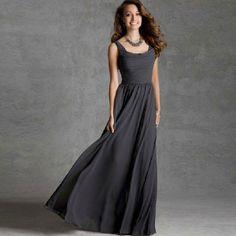 Shoulders Dress Silk Chiffon Evening Dress V-neck Slim