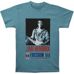 Jimi Hendrix Men's  Atlanta Pop Poster T-shirt Blue Rockabilia