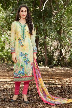 #Yellow Georgette #Printed #Salwar #Kameez #nikvik  #usa #designer #australia #canada #freeshipping #suits