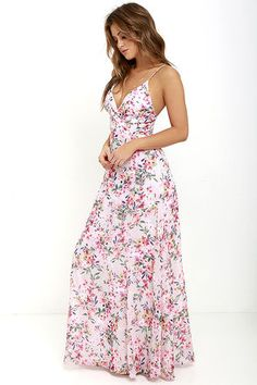 Garden Grove Taupe and Pink Floral Print Maxi Dress at Lulus.com!