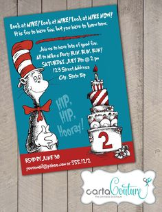 Dr. Suess The Cat in the Hat DIY Printable Invitation by CartaCouture. $7.00, via Etsy.