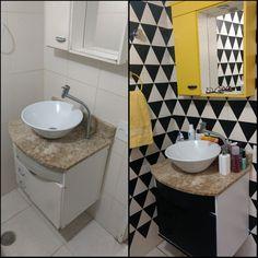 Eu que fiz! Decoração do banheiro com papel contact e tinta spray