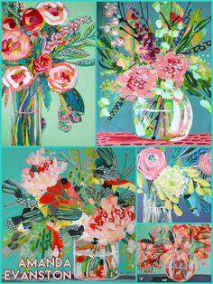 Amanda Evanston, American, b. Acrylic Painting Inspiration, Posca, Arte Floral, Abstract Flowers, Illustration Art, Illustrations, Flower Art, Amazing Art, Watercolor Art