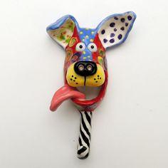 Original Handmade Ceramic Dog-mask Dog Art Leash Hook wall hanging by Dottie Dracos 21 Ceramic Animals, Clay Animals, Sculpture Clay, Wall Sculptures, Dog Mask, Earthenware Clay, Make Ready, Handmade Ceramic, Arts And Crafts