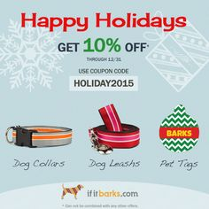Time's running out! Place your If It Barks order by & get off with code Custom Dog Collars, Handmade Dog Collars, Dog Collars & Leashes, Designer Dog Collars, Pet Tags, Collar And Leash, Printing On Fabric, Your Dog, Coding