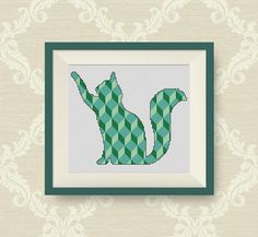 BUY 2, GET 1 FREE! Geometric Cat Cross Stitch Pattern, decor cross stitch pattern, pdf counted cross stitch pattern, P195 by NataliNeedlework on Etsy
