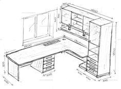 Skizze des Schemas des Arbeitsbereichs - Lilly is Love Home Office Design, Home Office Decor, Interior Design Living Room, Home Decor, Kitchen Interior, Diy Furniture, Furniture Design, Small Home Offices, Desk Plans