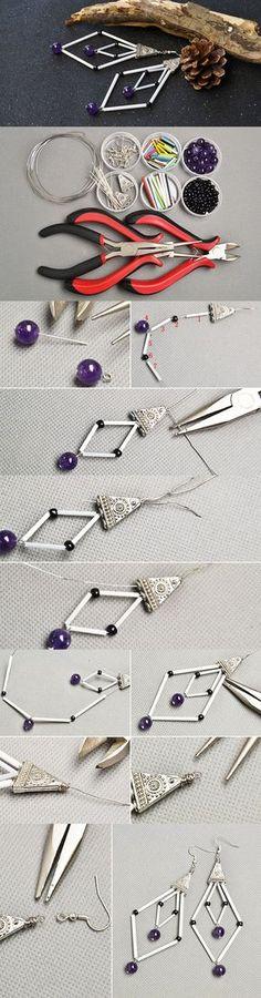 Making a Pair of White Bugle Beads Dangle Earrings with Tibetan Beads