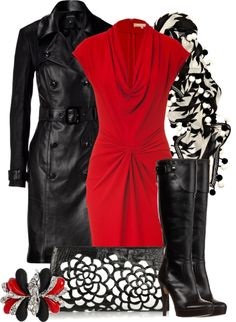 """MICHAEL KORS Crimson Red Draped Dress"" by aannggiiee on Polyvore"