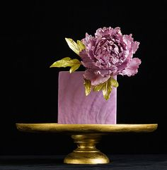 lovely lilac purple and gold wedding cake with single peony sugar art topper, wedding-cake-21-01252014nz