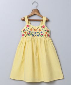 Look at this Beebay Yellow Stripe Embroidered A-Line Dress - Infant, Toddler & Girls on #zulily today!