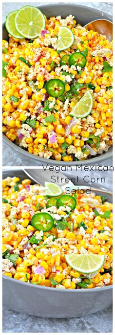 All the traditional flavors of Mexican street corn made vegan with the help of salt baked tofu turned into vegan Cojita cheese. It is easy and amazing!
