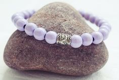 Light Purple Beaded Bracelet | Wood Bead Bracelet | Mens Elastic Bracelet  Simple Mens Bracelet
