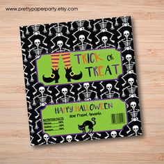 Custom Personalized Printable Halloween Candy Bar Wrappers Halloween Candy Bar, Halloween Treats, Happy Halloween, Chocolate Bar Wrappers, Candy Bar Wrappers, Classroom Treats, Double Stick Tape, Wedding Supplies, Print And Cut