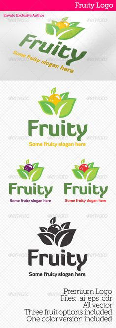 "Fruity Logo  #GraphicRiver         Logo inspired in fruit, it comes with three fruit options, one solid color version and with .AI .EPS and .CDR format files.  	 Font used is ""diavlo"" it can be downloaded here:   .fontsquirrel /fonts/Diavlo     Created: 13December12"
