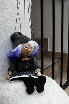 Hipster girl Violet. Handmade Marionette on wire. Puppet with