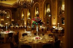 Classic Formal Romantic Gold Red Ballroom Centerpieces Chairs City Dance Floor Historic Site Indoor Reception Place Settings Tablescape Wedding Reception Photos & Pictures - WeddingWire.com