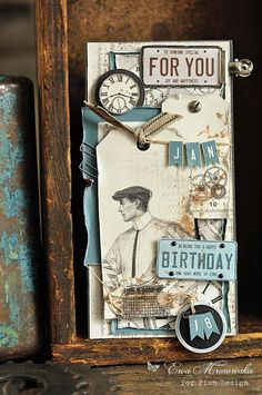 A gorgeous masculine card with the Mister Tom's Treasures paper collection