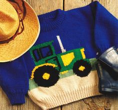 Details about Tractor Farm Sweater Baby Children Knitting Pattern Aran Wool 22 -. : Details about Tractor Farm Sweater Baby Children Knitting Pattern Aran Wool 22 free knitting patterns for children sweaters Boys Knitting Patterns Free, Jumper Knitting Pattern, Knitting For Kids, Baby Patterns, Knit Patterns, Vintage Patterns, Free Knitting, Knit Baby Sweaters, Girls Sweaters
