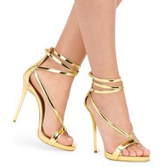 Sweeping lines reach from the toes to the ankle in these strapped leather sandals. The Italian-made design has been crafted from gold mirrored leather for a look that's bold and dynamic.