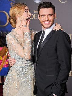 Star Tracks: Monday, March 2, 2015 | WHAT A CHARMER | Meanwhile, we'd love to know what's so funny between Lily James and her on-screen Prince Charming, Richard Madden, at Sunday's Cinderella world premiere in Hollywood.