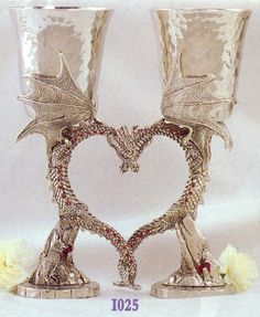 Pewter Dragon Heart Goblets Fellowship Foundry. How great would it be to use these as a cake topper and then do a toast with them?