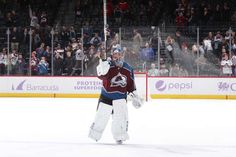 DENVER, CO - NOVEMBER 2: Goaltender Semyon Varlamov #1 of the Colorado Avalanche salutes the crowd after a win against the Carolina Hurricanes at the Pepsi Center on November 2, 2017 in Denver, Colorado. The Avalanche defeated the Hurricanes 5-3. (Photo by Michael Martin/NHLI via Getty Images)