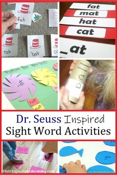 These Dr Seuss sight words activities are inspired by some of the most loved kids books. Discover a Green Eggs & Ham sight word activity, Hop on Pop reading game and more. Dr Seuss Activities, Spelling Activities, Sight Word Activities, Kids Learning Activities, Writing Activities, Speech Activities, Teaching Reading, Teaching Kids, Teaching Resources