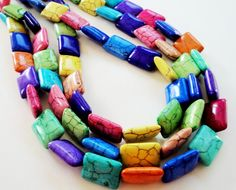 Rectangle Multicolored Turquoise Howlite Beads/ 16 by BijiBijoux, $8.25