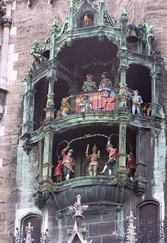 The Rathaus-Glockenspiel of Munich, found in the Marienplatz, is a century-old mechanised clock with no less than 43 bells and 32 life-sized figures. The clockwork models spring into life for 15 minutes at 11am, when they re-enact two stories of 16th century Munich: the marriage of Duke Wilhelm V, including a joust scene, and then the coopers' dance that celebrate...