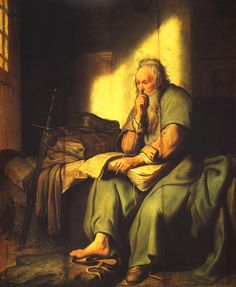 Rembrandt Harmenszoon van Rijn: Saint Paul in Prison By Rembrandt Leiden, Vincent Van Gogh, Rembrandt Paintings, Rembrandt Art, Dutch Golden Age, Biblical Art, Dutch Painters, Old Master, Bible Art