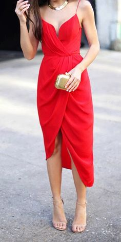 Red Silk Plunge Drape Dress