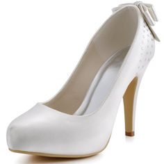 ElegantPark EP11034-IP Women's Evening Closed Toe High Heel Platform Bows Satin Wedding Bridal Pump Shoes Ivory US 10