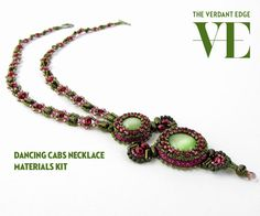 Dancing Cabs Necklace Materials Kit for pattern in June/July 2014 Beadwork Magazine in magenta and olive green with rulla beads