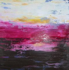 Red Sky At Night - Original Oil Painting on canvas modern abstract landscape on Etsy, $330.00