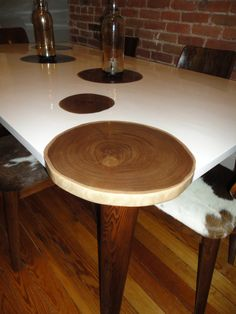 Tree Ring Table by KaelenJohnson on Etsy, $1975.00. He does custom….very cool idea for kitchen table top…