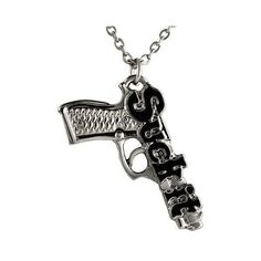 "Unique Women Girl Pistol Hand Gun Suck It Charm Necklace Pendant 16"" Chain found on Polyvore"
