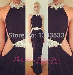 Купить товарВысокая воротник сексуальный вечерние платья шифон вышивка бисером белый черный длинная русалка пром платье в категории Выпускные платьяна AliExpress.