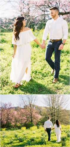 Engagement outfit ideas - a flowy dress with him in jeans and his shirt tucked i. - Engagement outfit ideas – a flowy dress with him in jeans and his shirt tucked in! Dresses For Engagement Pictures, Engagement Photo Dress, Winter Engagement Photos, Engagement Dresses, Beach Engagement, Engagement Photography, Engagement Session, Country Engagement, Engagement Ideas