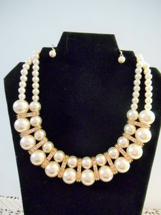 Beautiful Double Stranded Pearl Necklace with Matching Earrings