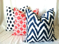 A fabulous, modern pillow cover set in trendy Navy & Coral! Decorative Pillow Covers. 16 x 16. Set of Three. by PillowStyles, $51.00