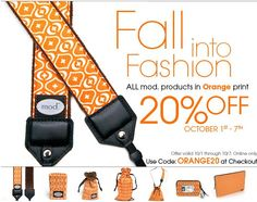 Only 2 days left in mod.'s 7 days to Fall into Fashion! 20% off all products in our Orange Print! Oct 1 through Oct 7! #modstraps