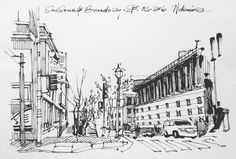 Sansome and Broadway #sf ... #sketch #draw #drawing #illustration #streetview #ink #art #linedrawing #urbansketch #sketchcollector #moleskine #lamy  #sanfrancisco #architecture