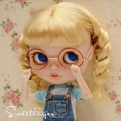 """【Tii】 12"""" Blythe/pullip outfit clothe glasses gold & red doll glasses fashion"""
